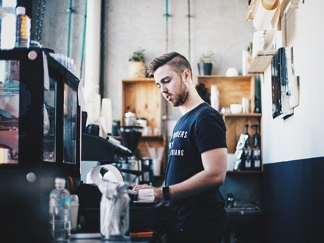 student working, cashier